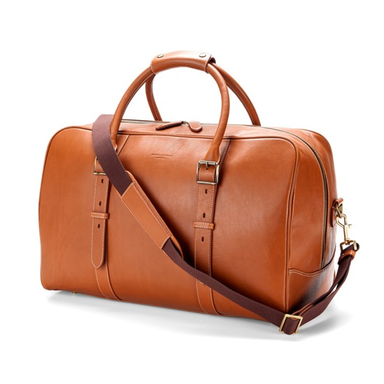 Large Harrison Weekender Travel Bag in Smooth Tan from Aspinal of London