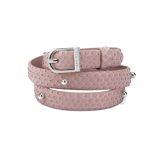 Marylebone Buckle Belt in Nude Nubuck Python from Aspinal of London