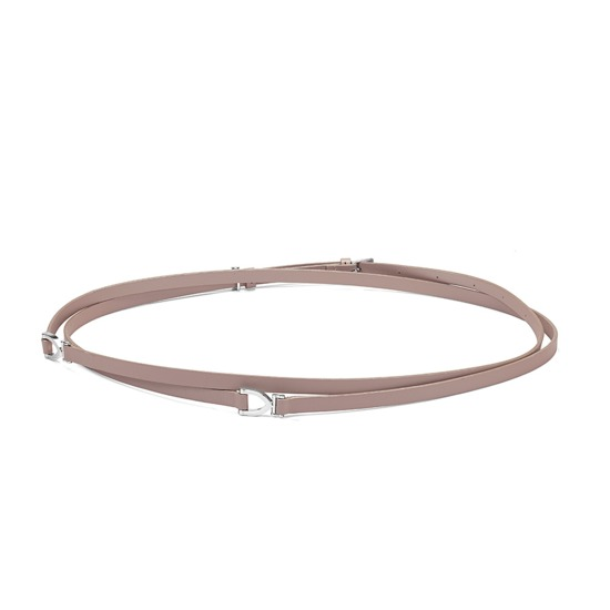 Stirrup Double Wrap Skinny Belt in Smooth Nude from Aspinal of London