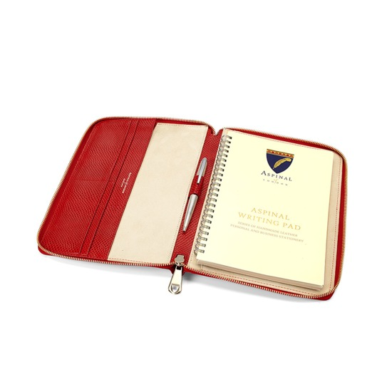 A5 Zipped Padfolio in Berry Lizard & Cream Suede from Aspinal of London
