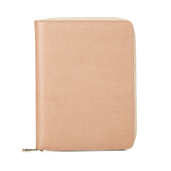 A5 Zipped Padfolio in Deer Saffiano & Cream Suede from Aspinal of London