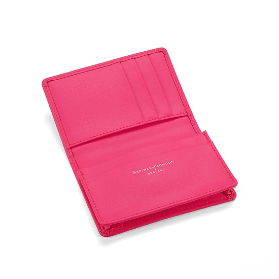 Marylebone Credit Card Holder in Smooth Neon Pink from Aspinal of London