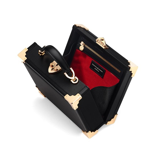 Mini Trunk Clutch in Smooth Black with NYC Patches from Aspinal of London
