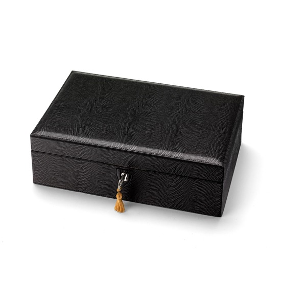 Savoy Jewellery Box in Jet Black Lizard & Red Suede from Aspinal of London