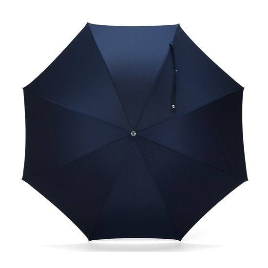 Mens Stand Up Umbrella with Wooden Handle in Navy Blue from Aspinal of London