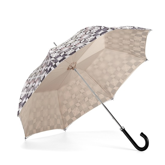 Ladies Marylebone Stand Up Umbrella in Monochrome & Champagne Cream from Aspinal of London