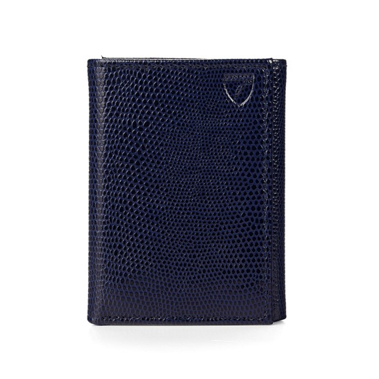 Trifold Wallet in Navy Lizard from Aspinal of London