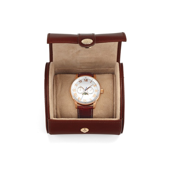 Travel Watch Roll in Smooth Cognac & Stone Suede from Aspinal of London