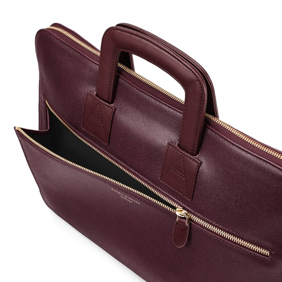 Connaught Document Case in Burgundy Saffiano from Aspinal of London