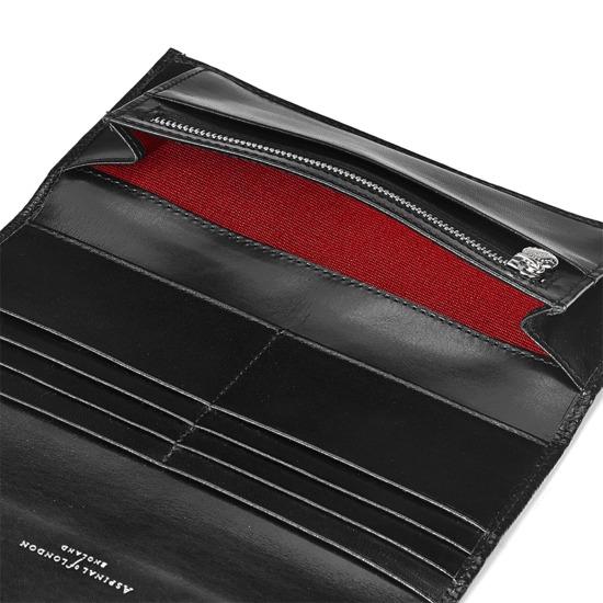 Brook Street Purse Wallet in Jet Black Lizard from Aspinal of London
