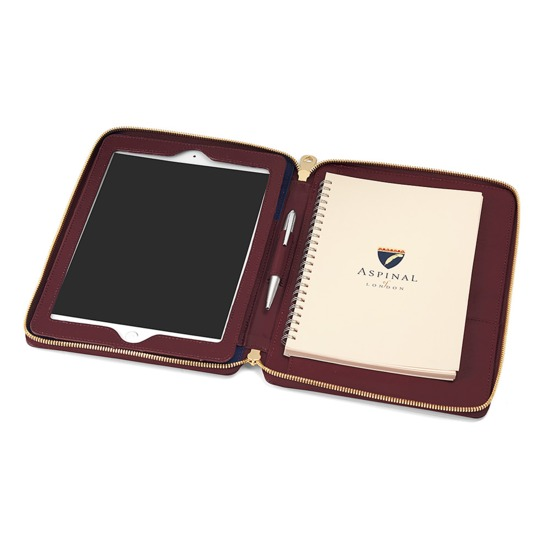Marylebone iPad Air Case with Crossbody Strap in Burgundy Saffiano from Aspinal of London