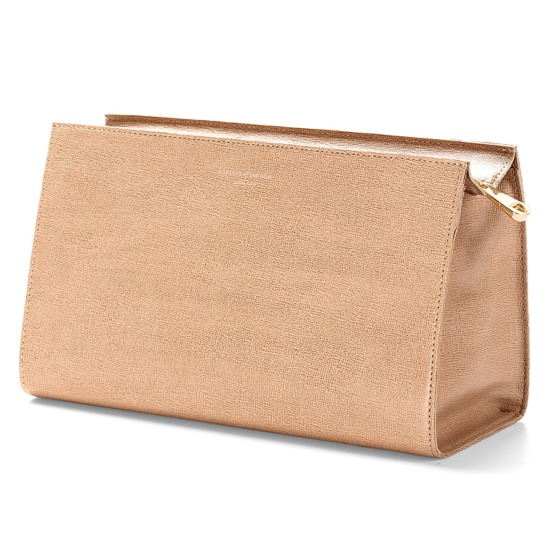 Large Cosmetic Case in Deer Saffiano from Aspinal of London