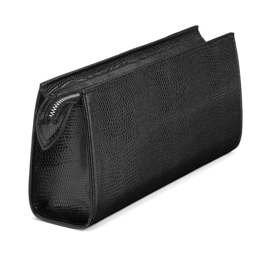 Small Cosmetic Case in Jet Black Lizard from Aspinal of London