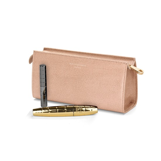 Small Cosmetic Case in Deer Saffiano from Aspinal of London