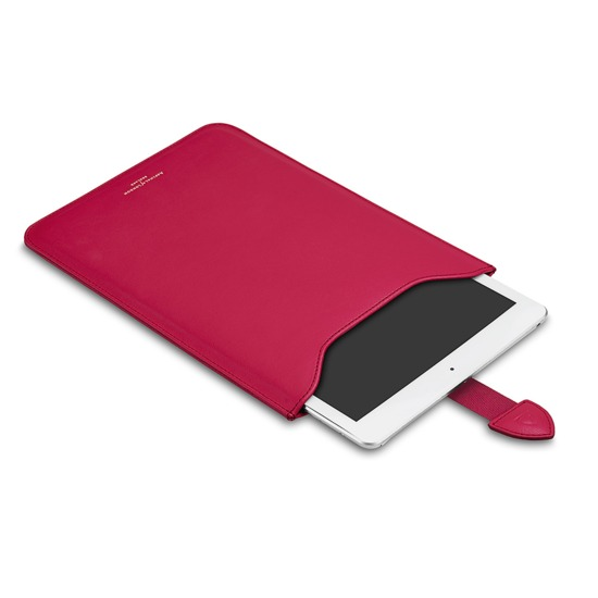 Leather iPad Air Sleeve in Smooth Deep Fuchsia Pink & Orange Amber Suede from Aspinal of London