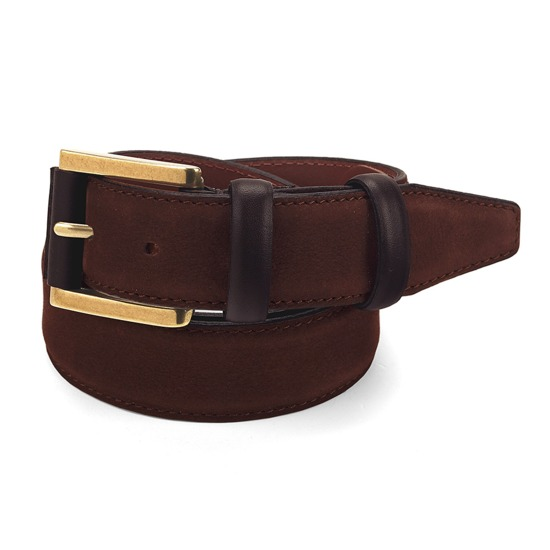 Men's Shadow Leather Belt in Chocolate Brown Nubuck from Aspinal of London