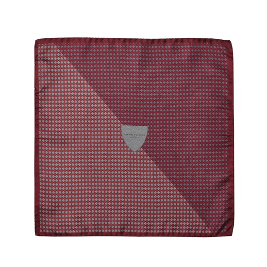 Savile Row Silk Twill Pocket Square in Burgundy & Silver from Aspinal of London