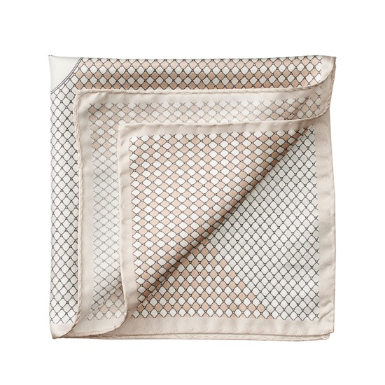 Savile Row Silk Twill Pocket Square in Champagne & Silver from Aspinal of London