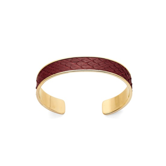 Cleopatra Skinny Cuff Bracelet in Burgundy Python from Aspinal of London