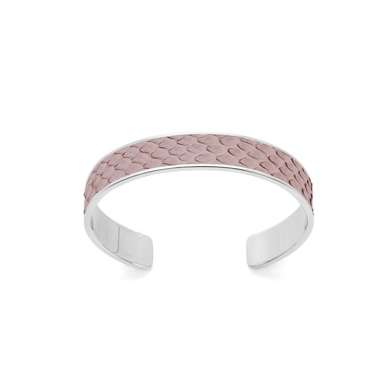 Silver Cleopatra Skinny Cuff Bracelet in Nude Nubuck Python from Aspinal of London