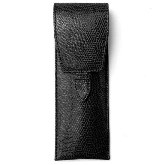 Small Pen Case in Jet Black Lizard & Red Suede from Aspinal of London