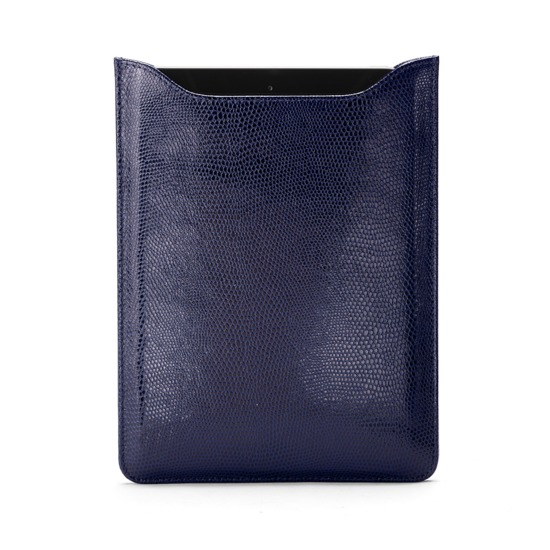 iPad Mini Sleeve in Midnight Blue Lizard & Cream Suede from Aspinal of London