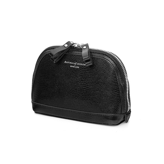 Small Hepburn Cosmetic Case in Jet Black Lizard from Aspinal of London