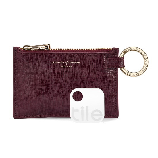 Tile Tracker with Keyring Pouch in Burgundy Saffiano & Black Suede from Aspinal of London