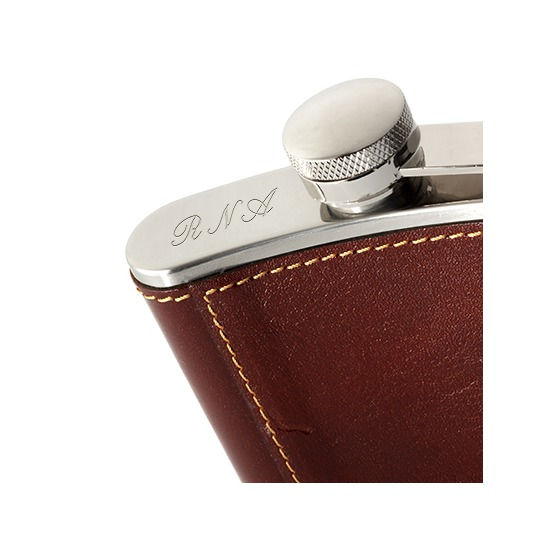 Classic 5oz Leather Hip Flask in Amazon Brown Croc from Aspinal of London