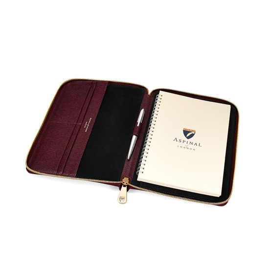 A5 Zipped Padfolio in Burgundy Saffiano & Black Suede from Aspinal of London