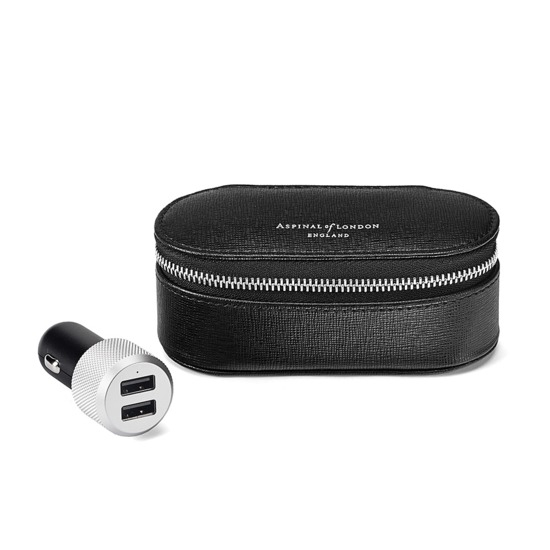Essential Tech Car Charger with Case in Black Saffiano & Black Suede from Aspinal of London