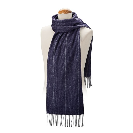 Large Herringbone Cashmere Blend Scarf in Navy from Aspinal of London