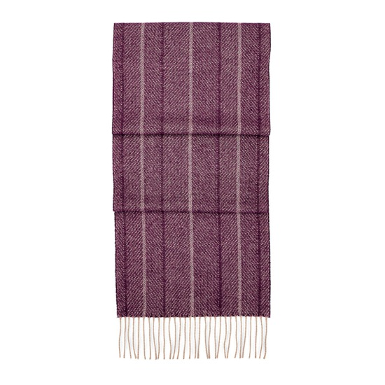 Large Herringbone Cashmere Blend Scarf in Burgundy from Aspinal of London