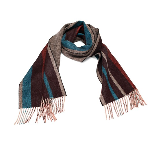 Herringbone Stripe Pure Cashmere Scarf in Burgundy from Aspinal of London