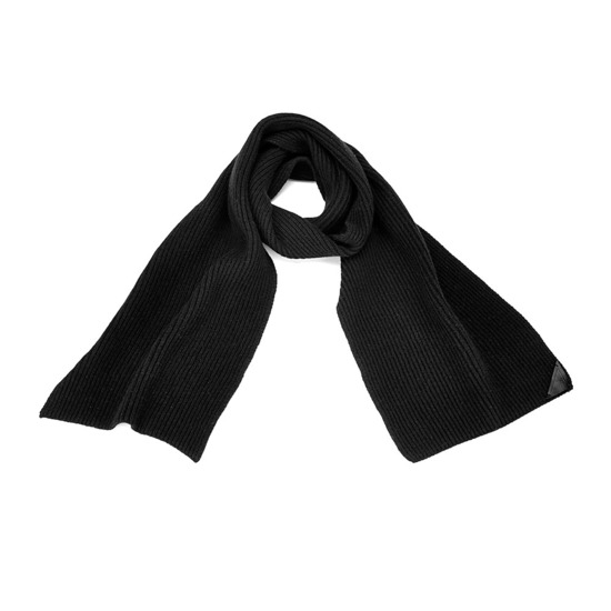 Rib Knit Cashmere Blend Scarf in Black from Aspinal of London