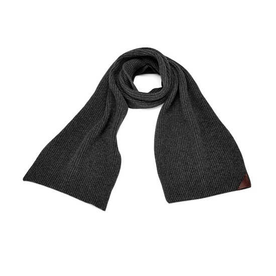 Rib Knit Cashmere Blend Scarf in Charcoal from Aspinal of London