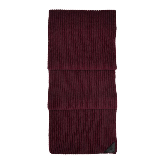 Rib Knit Cashmere Blend Scarf in Burgundy from Aspinal of London