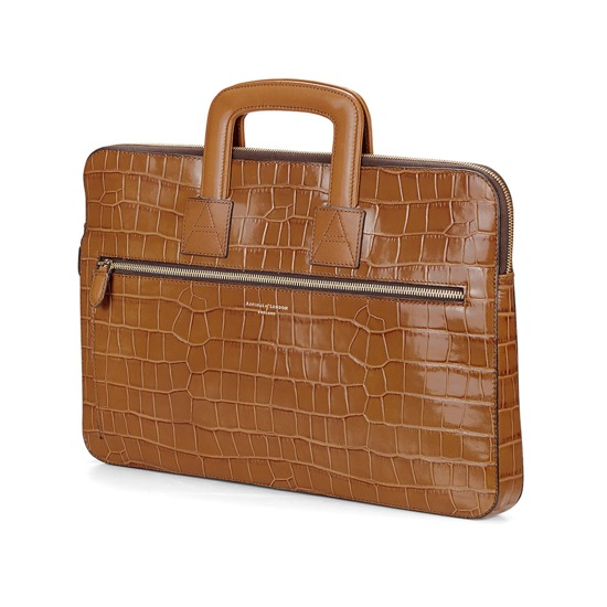 Connaught Document Case in Deep Shine Vintage Tan Croc from Aspinal of London