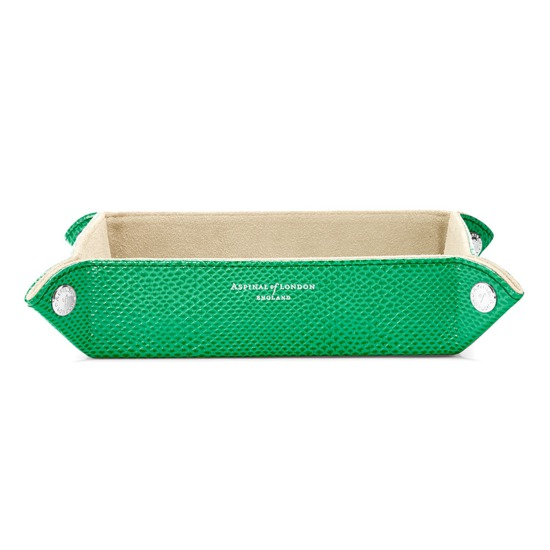 Medium Tidy Tray in Grass Green Lizard & Cream Suede from Aspinal of London