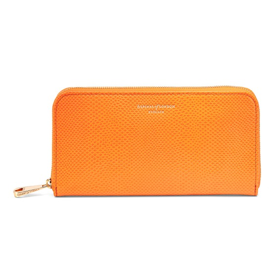 Continental Clutch Zip Wallet in Orange Lizard from Aspinal of London