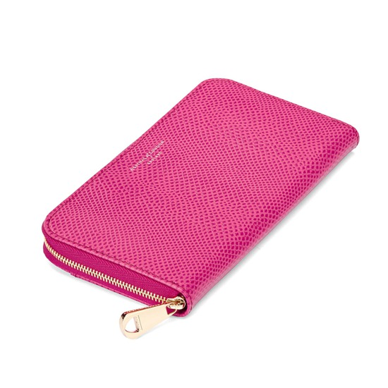 Continental Clutch Zip Wallet in Raspberry Lizard from Aspinal of London
