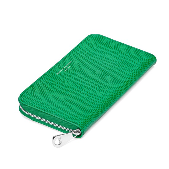 Continental Clutch Zip Wallet in Grass Green Lizard from Aspinal of London