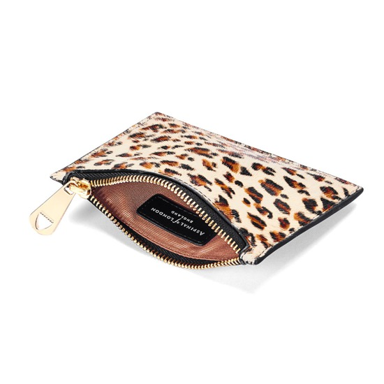 Small Essential Flat Pouch in Leopard Haircalf & Black Polish from Aspinal of London