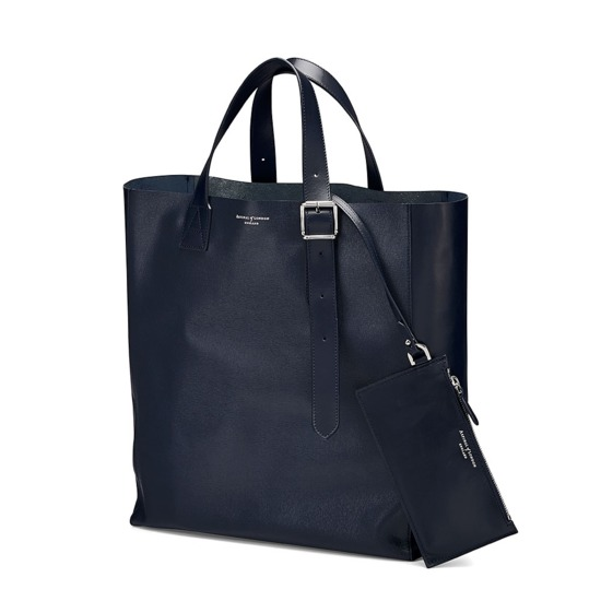 The 'A' Tote in Navy Saffiano from Aspinal of London