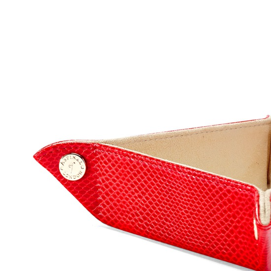 Mini Tidy Tray in Berry Lizard & Cream Suede from Aspinal of London