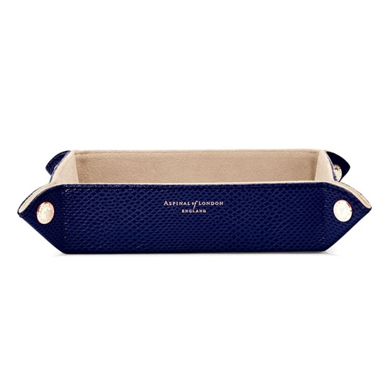 Medium Tidy Tray in Midnight Blue Lizard & Cream Suede from Aspinal of London