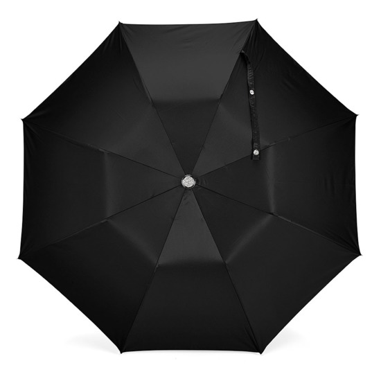 Mens Compact Automatic Umbrella with Maplewood Handle in Black from Aspinal of London