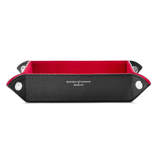 Medium Tidy Tray in Jet Black Lizard & Red Suede from Aspinal of London