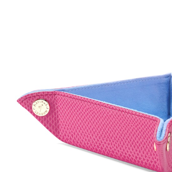Mini Tidy Tray in Raspberry Lizard & Pale Blue Suede from Aspinal of London