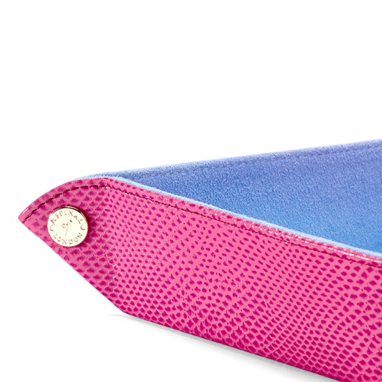 Medium Tidy Tray in Raspberry Lizard & Pale Blue Suede from Aspinal of London